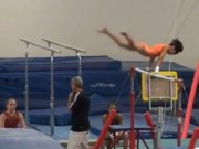 11 Year old Gymnast training dismount - giants, back layout full into pit - YouTube