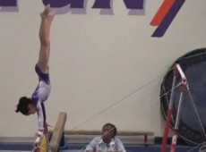 11 Year old USAG Level 8 Gymnastics Evaluation meet - Bars 9.6 - YouTube